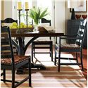 Stanley Furniture The Classic Portfolio Artisan Ladderback Arm Chair with a Woven Belt Leather Seat - Shown with Barrel Table Top, Ebony Table Base, and Ebony Side Chair