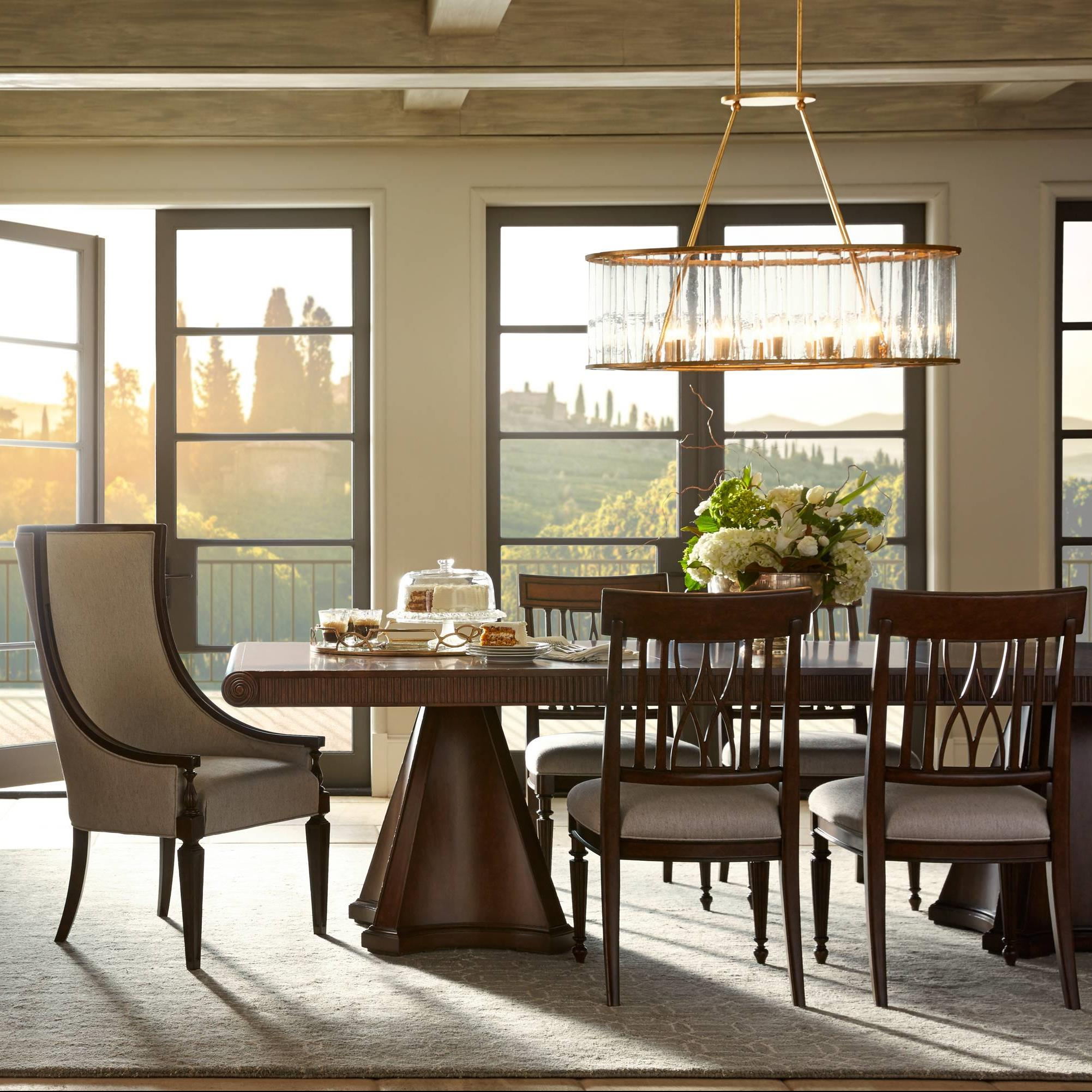 Stanley Furniture Villa Couture 7-Piece Dante Double Pedestal Table Set - Item Number: 510-11-36+2x75+4x60