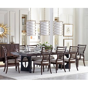 Stanley Furniture Virage 9-Piece Double Pedestal Dining Table Set
