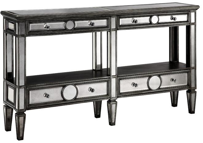 Stein World Accent Tables Console Table w/ Mirror Fronts and Wood Tops - Item Number: 47644