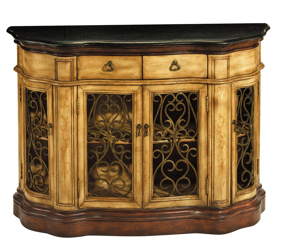 Stein World Credenzas Iron And Mahogany Four Door Credenza Darvin Furniture Occasional Cabinet