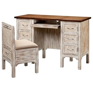 Morris Home Furnishings Desks Caitlyn Desk/Vanity and Stool Set