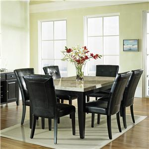 Steve Silver Monarch 7 Pc. Dining Set, Marble Veneer Top Table