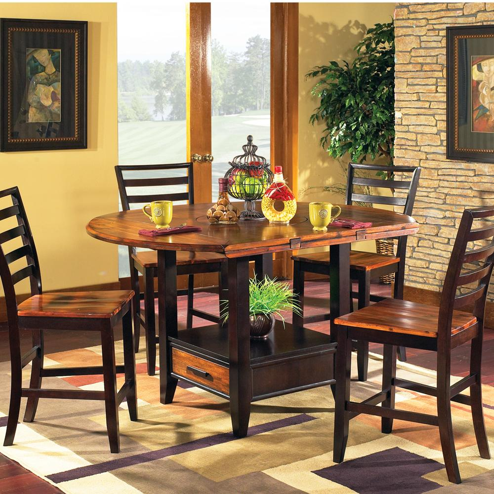 Steve Silver Abaco 5-Piece Square/Round Gathering Table Set - Item Number: AB200PT+AB200PTB+4xAB500CC