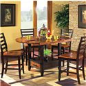 Morris Home Furnishings Abaco 5-Piece Square/Round Gathering Table Set - Item Number: AB200PT+AB200PTB+4xAB500CC