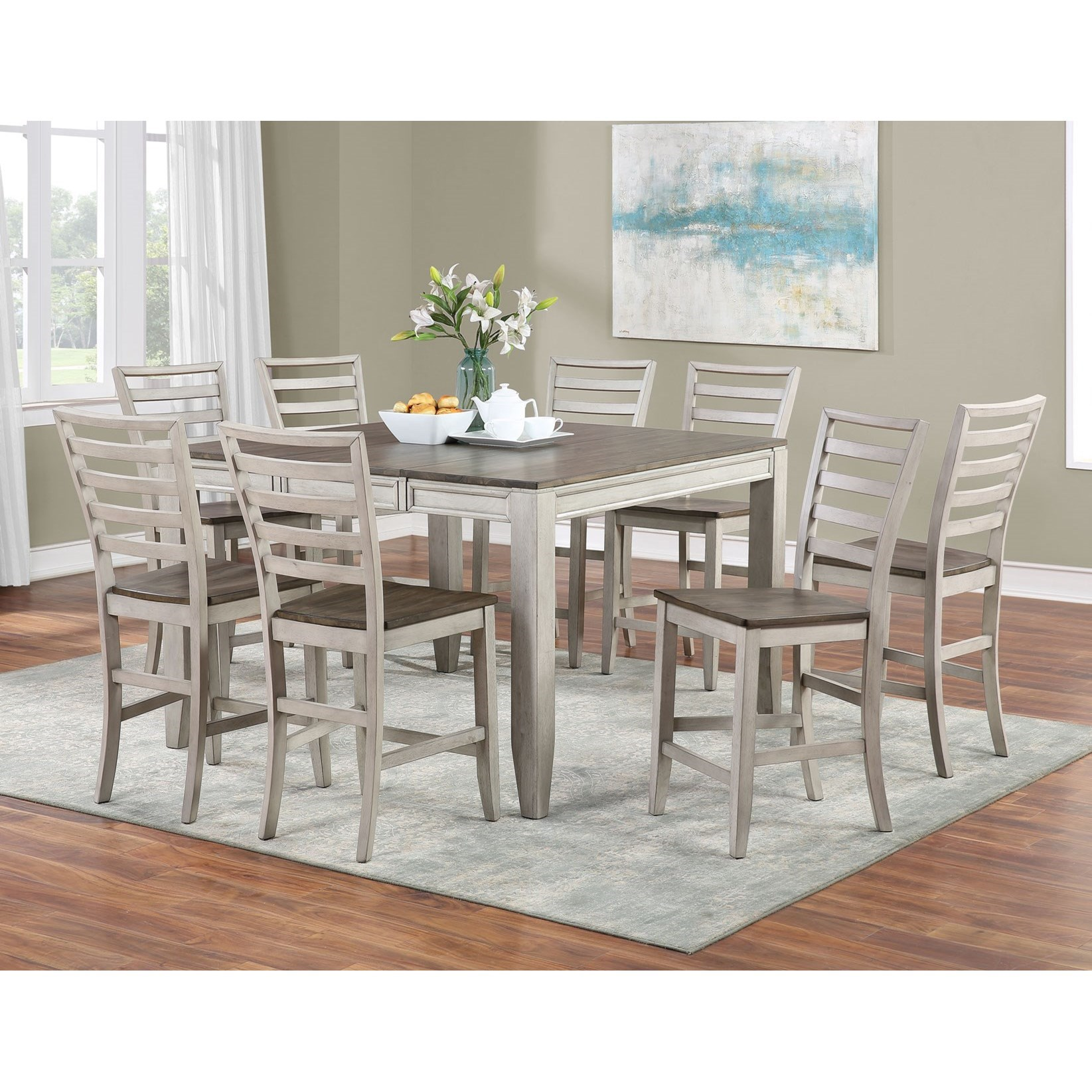 Abacus 9-Piece Counter Table and Chair Set by Star at EFO Furniture Outlet