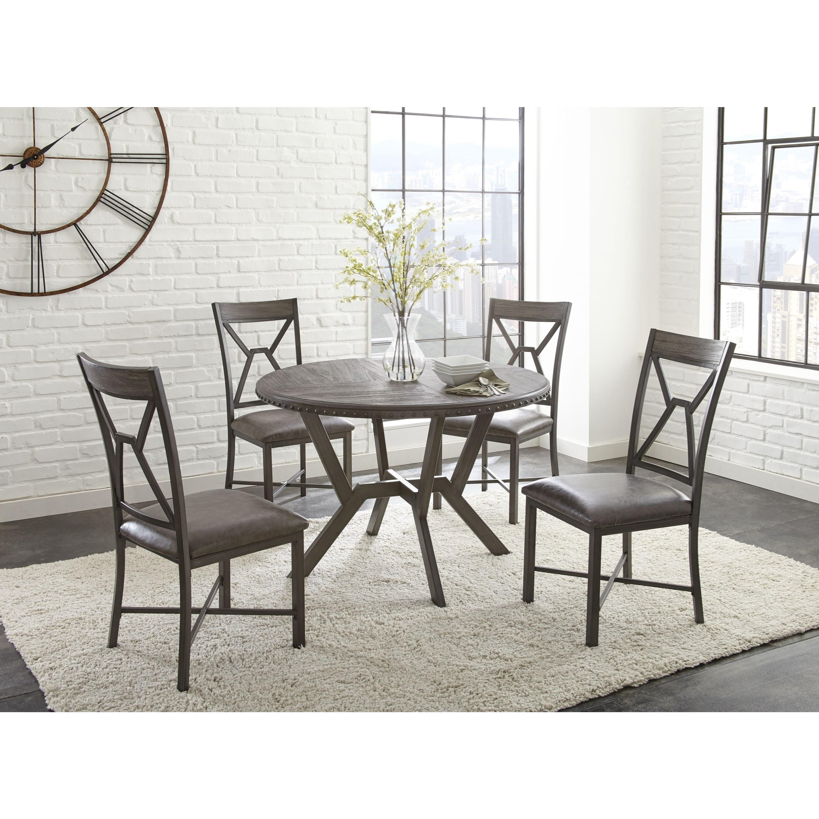 Steve Silver Alamo Round Dining Table With Metal Base