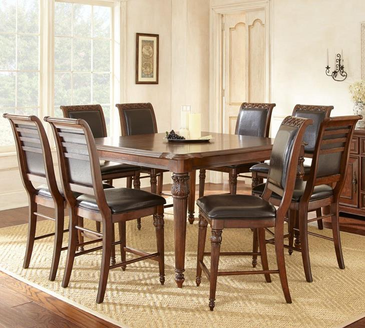 Steve Silver Alberta 9 Piece Counter Height Dining Set - Item Number: AB700PT+8xCC
