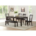 Vendor 3985 Ally 6 Piece Table and Chair Set with Bench - Item Number: AS700TC+4xSC+BNC
