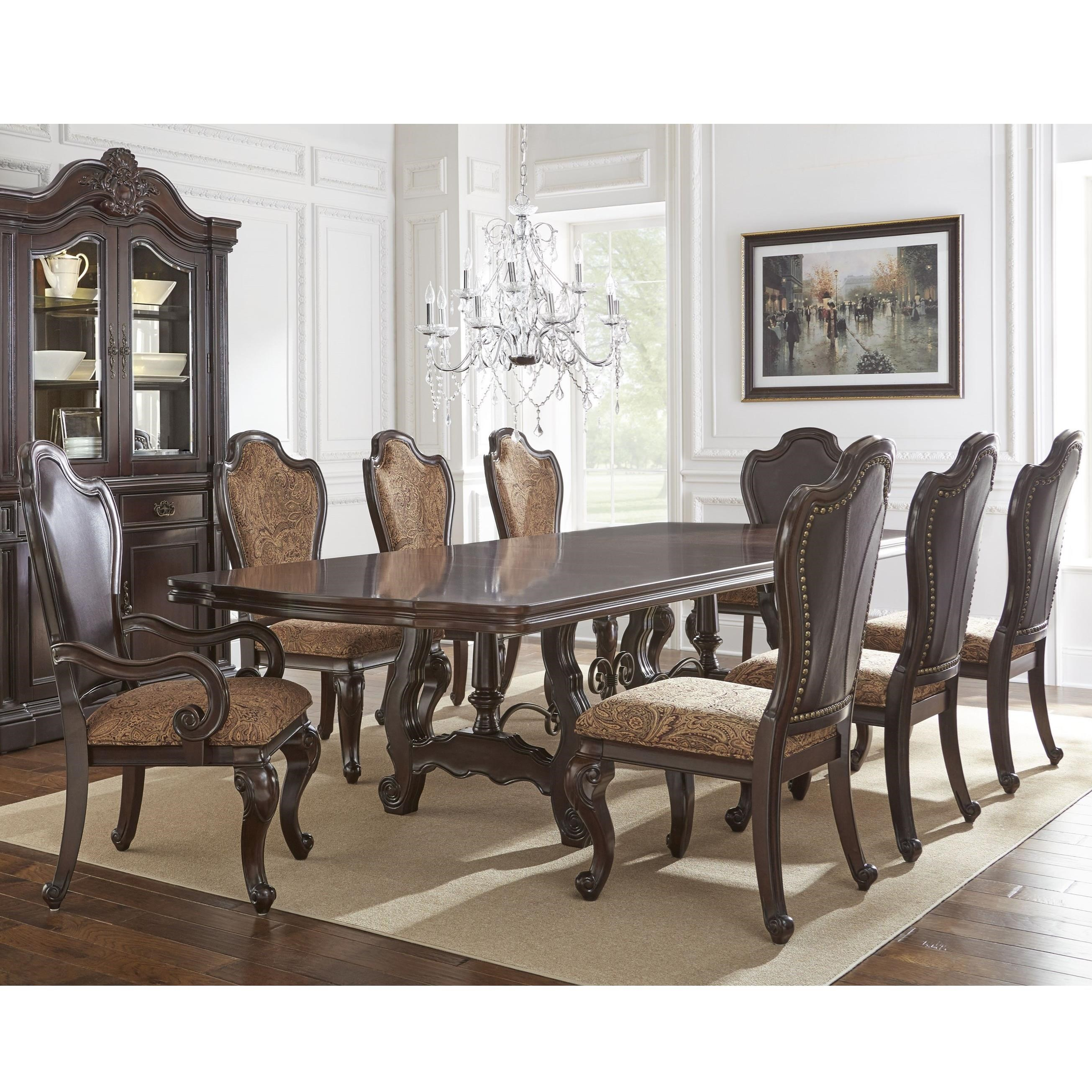 Steve Silver Angelina 9 Piece Dining Set - Item Number: AG486TB+T+2x680A+6x680S