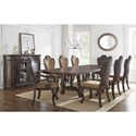 Vendor 3985 Angelina Double Pedestal Dining Table with Metal Stretcher
