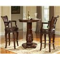 Steve Silver Antoinette Traditional Rich Brown Swivel Barstool - Shown in 3-Piece Pub Table Set