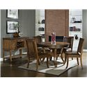 Morris Home Furnishings Ashbrook Transitional Round Dining Table with Pedestal Base - Shown in 5-Piece Dining Set