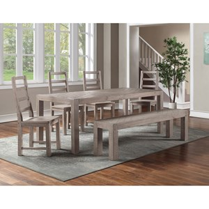 6PC Dining Table & Chair Set w/ Bench