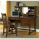 Morris Home Furnishings Bella Transitional Slat Back Wood Desk Arm Chair - Shown with Desk and Hutch