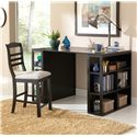 Morris Home Furnishings Bradford  Contemporary Writing Desk with Side Shelf Storage - Shown with Counter Chair
