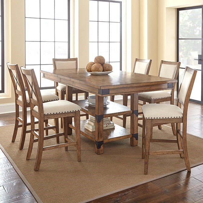 Steve Silver Britta Table and Chair Set - Item Number: BT700PT+PB+6xCC
