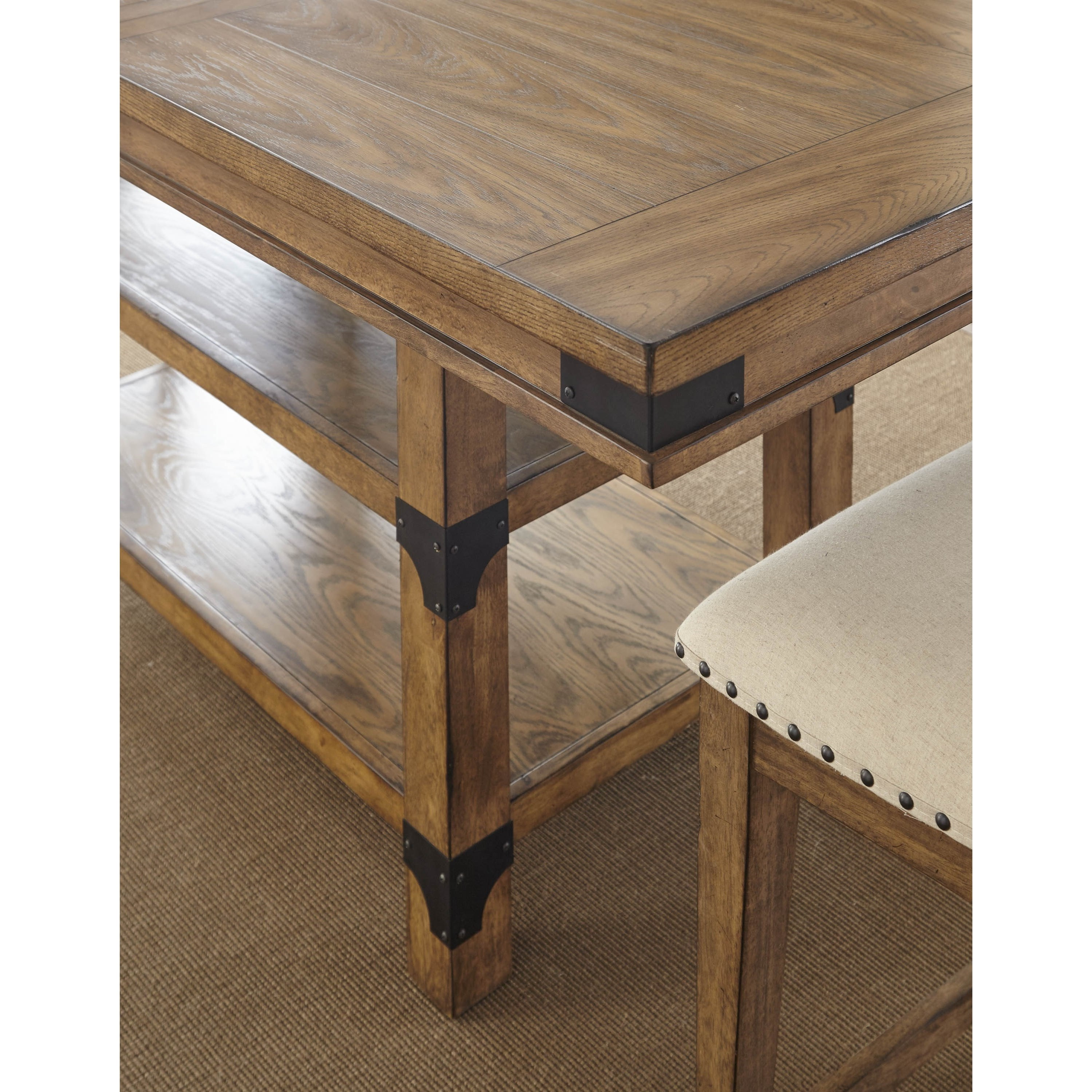 Britta Industrial Counter Height Table With Storage Ruby Gordon Furniture Mattresses Pub