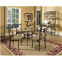 Steve Silver Brookfield Round Table with Tempered Glass Top - Shown with Side Chairs and Baker\'s Rack