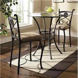 Steve Silver Brookfield Round Glass Top Pub Table & 2 Counter Chairs