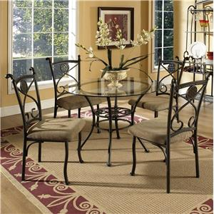 Steve Silver Brookfield Round Glass Top Dining Table & 4 Side Chairs