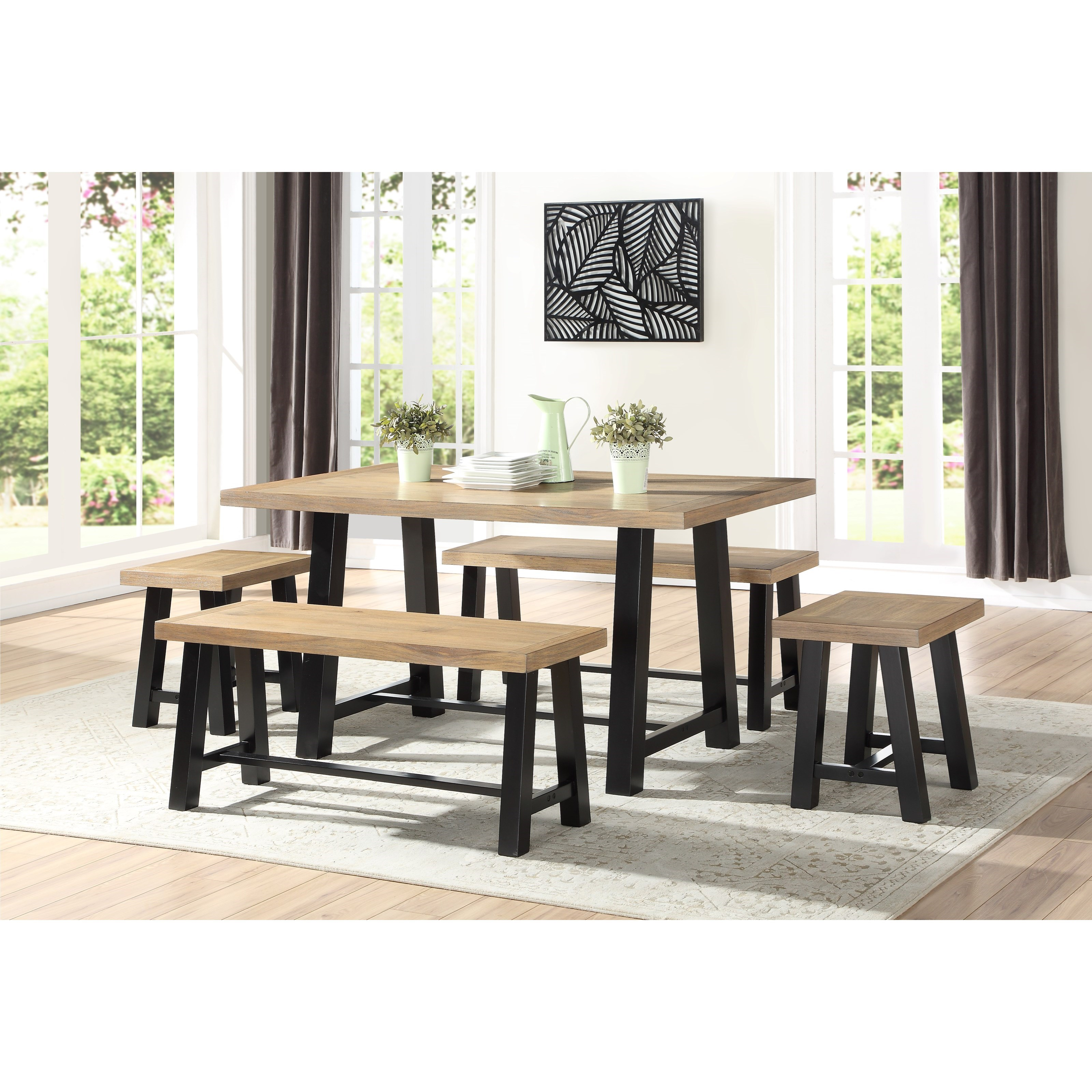 Table & Chair Set with 2 Benches