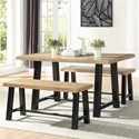 Steve Silver Burnell Dining Table with 2 Benches - Item Number: BU4500