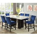 Steve Silver Camila 7 Piece Counter Height Dining Set - Item Number: CM540PB+420WT+6xCCBN