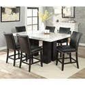 Steve Silver Camila 7 Piece Counter Height Dining Set - Item Number: CM540PB+420WT+6xCCKN