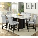 Steve Silver Camila 7 Piece Counter Height Dining Set - Item Number: CM540PB+420WT+6xCCSN