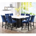 Steve Silver Camila 9 Piece Counter Height Dining Set - Item Number: CM540PB+PT+8xCCBN