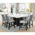 Steve Silver Camila 9 Piece Counter Height Dining Set - Item Number: CM540PB+PT+8xCCSN