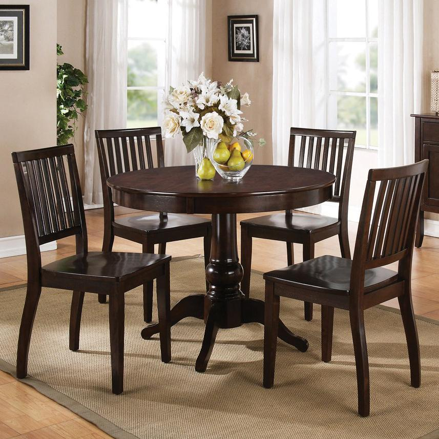Steve Silver Candice 5 Pc. Pedestal Table with Chair Dining Set - Item Number: CD200BE+TE+4x450SE