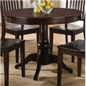 Steve Silver Candice 5 Piece Round Pedestal Table with Slat Back Side Chairs Dining Set - Set Includes Pedestal Table