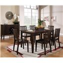 Steve Silver Candice 7 Piece Rectangular Table and Slat Back Chair Dining Set - Shown with Server