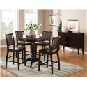Morris Home Furnishings Candice Candice Server with Wine Storage and Tapered Legs - Shown with Counter Pedestal Table and Counter Chairs