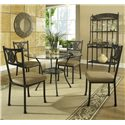 Steve Silver Carolyn Single Pedestal Round Glass Top Dining Table - Shown with Side Chairs and Baker\'s Rack
