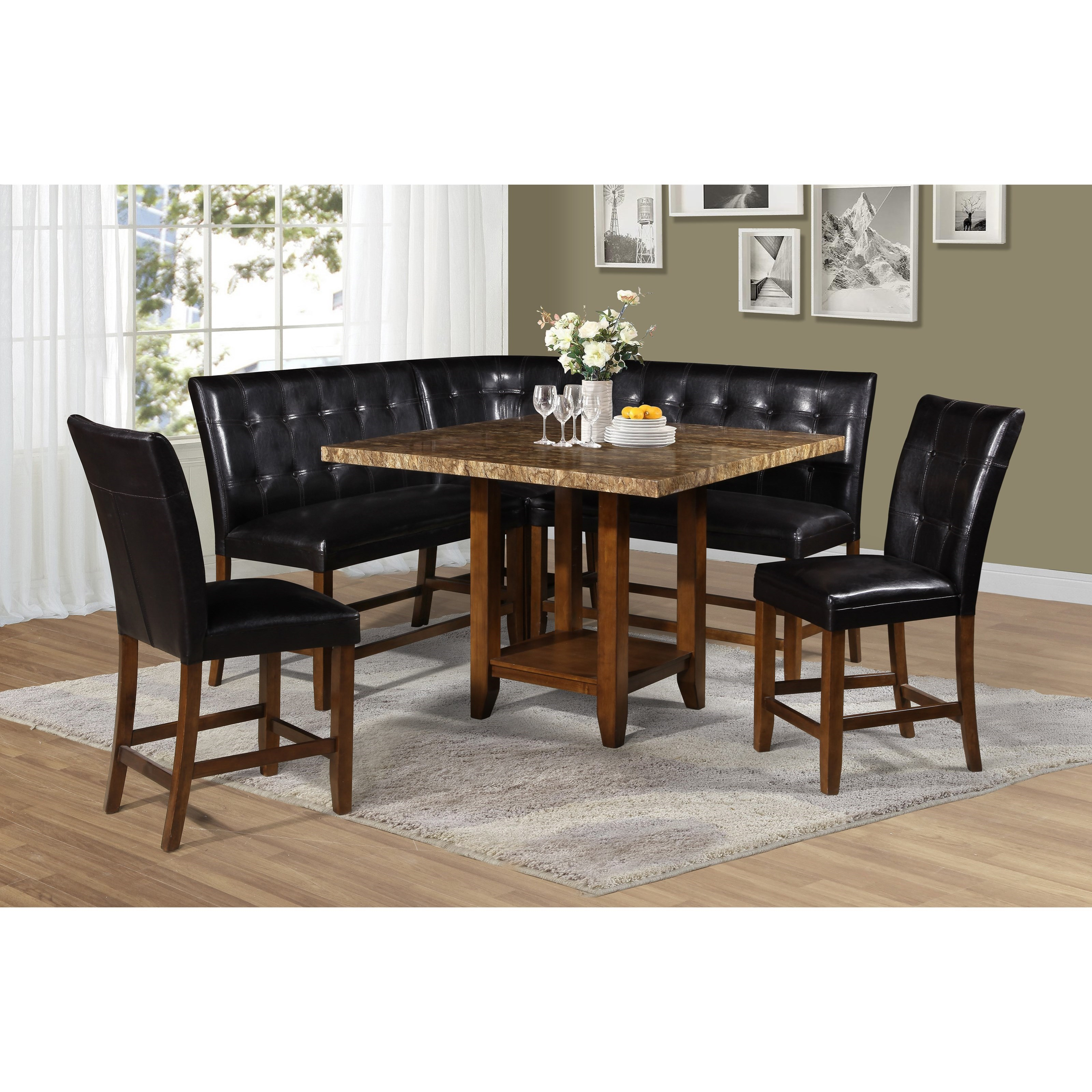 6 Piece Counter Table and Chair/Bench Set