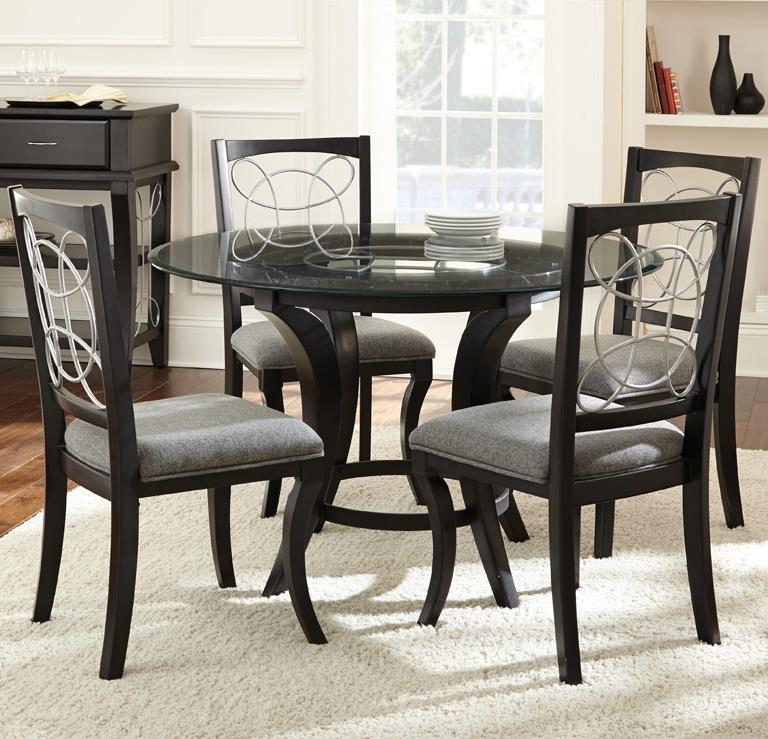 Steve Silver Cayman 5 Piece Glass Top Dining Set - Item Number: CY480T+B+4xS
