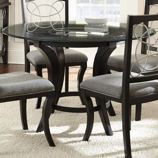 Steve Silver Cayman Round Glass Top Dining Table - Item Number: CY480T+B