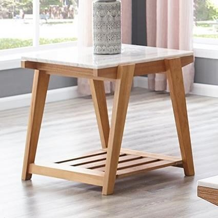 White Marble Top End Table