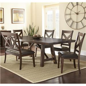 Steve Silver Clapton 6 Piece Dining Set with Bench