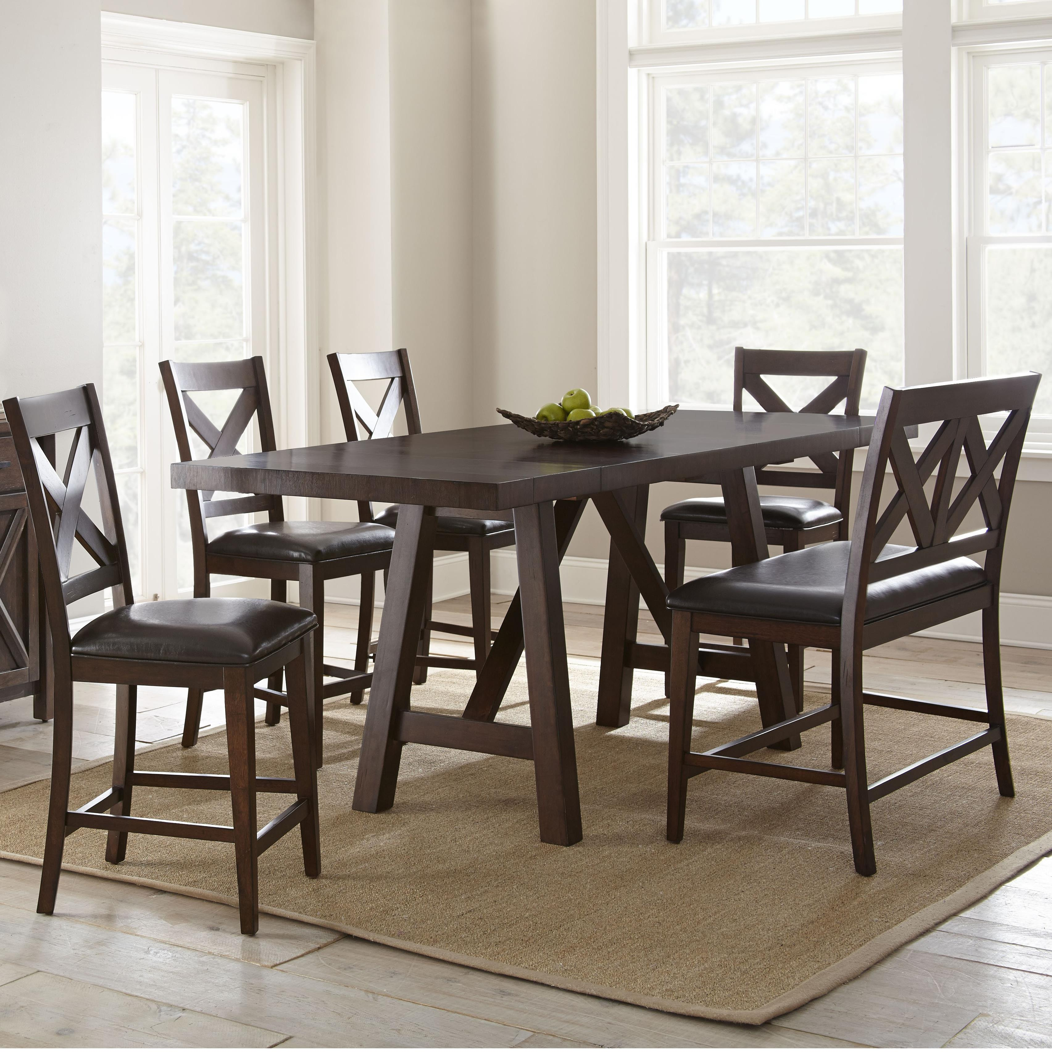Vendor 3985 Clapton 6 Piece Counter Dining Set with Bench - Item Number: CT700PT+4xCC+BN