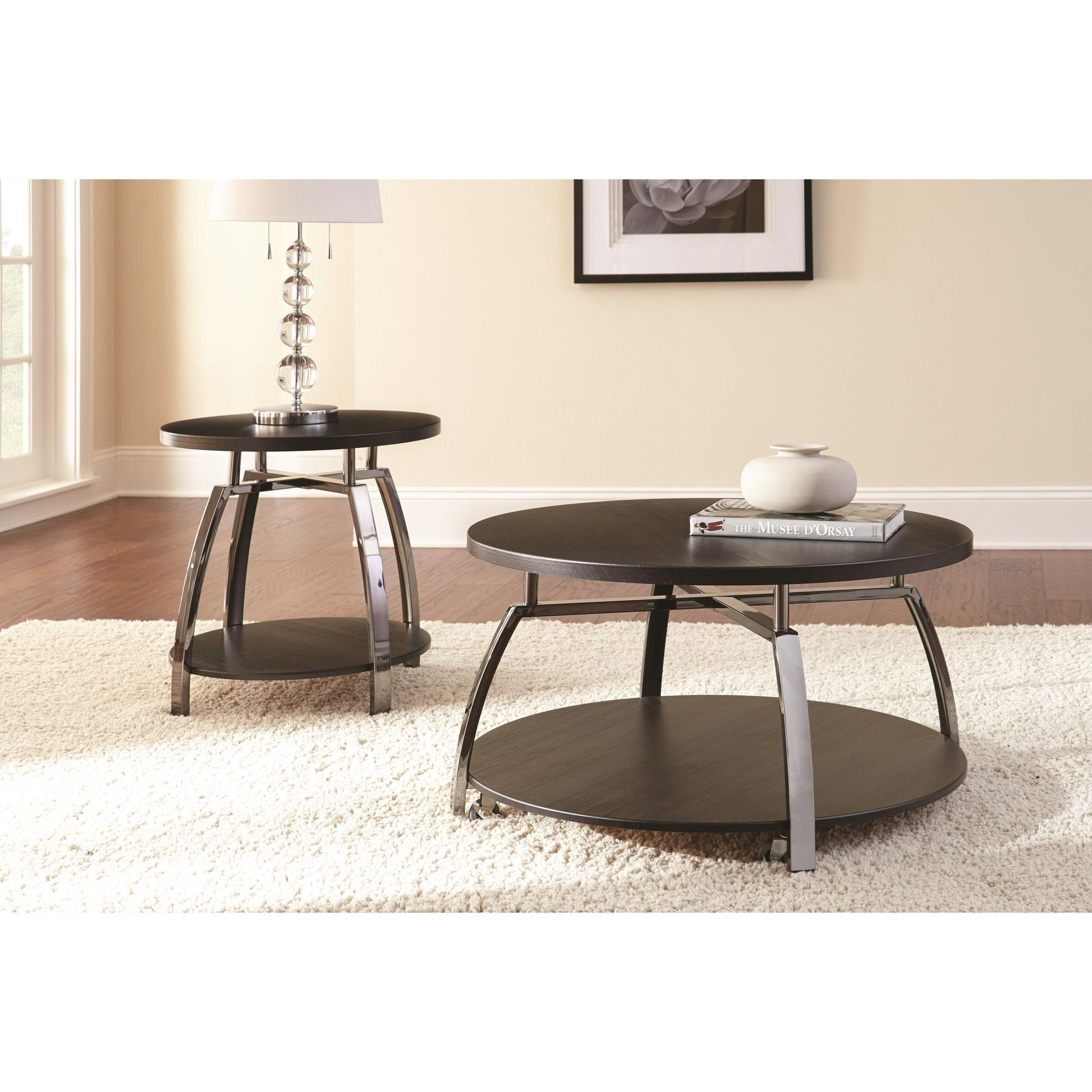 Steve Silver Coham Cm150e Round End Table With Metal Frame