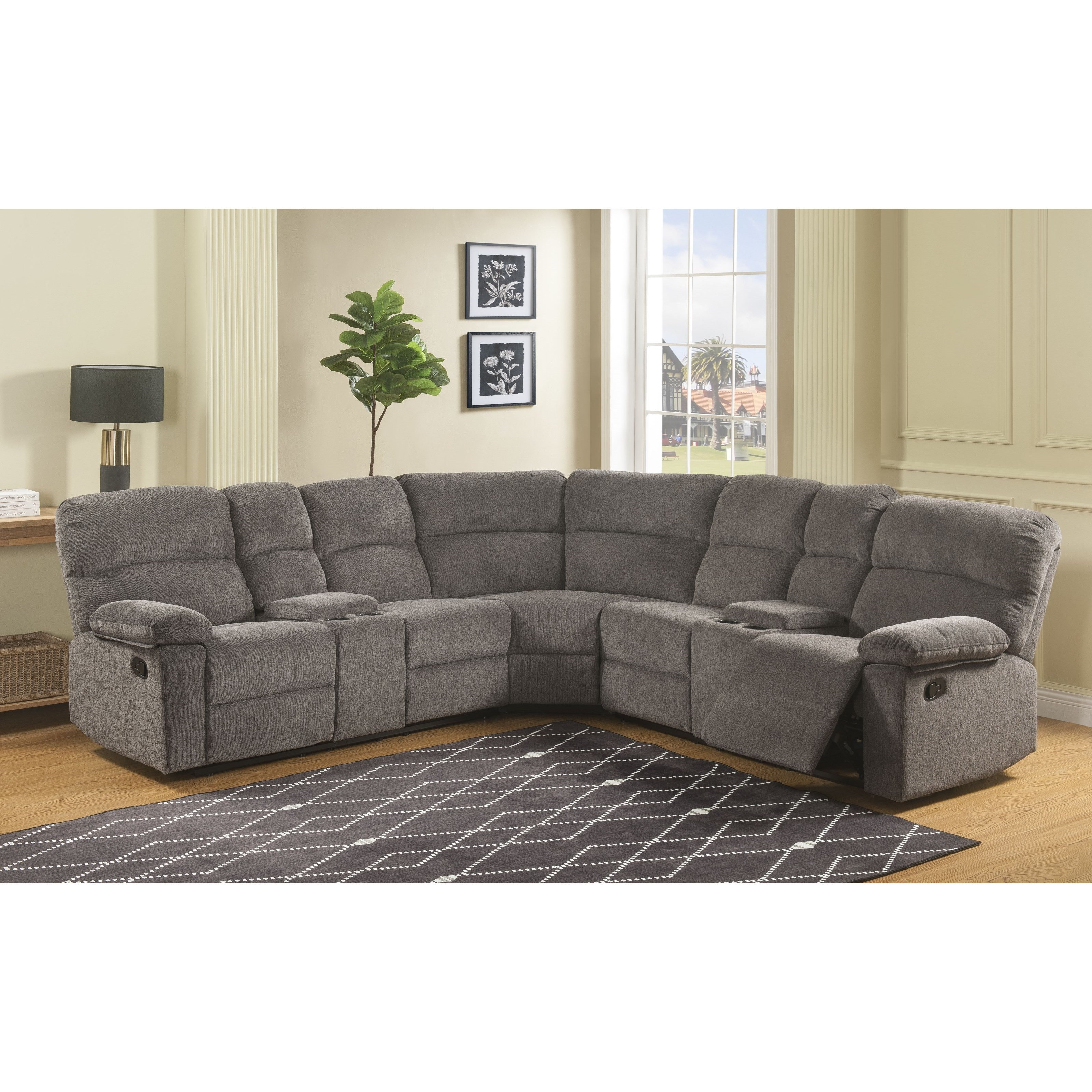 Four Seat Reclining Sectional Sofa
