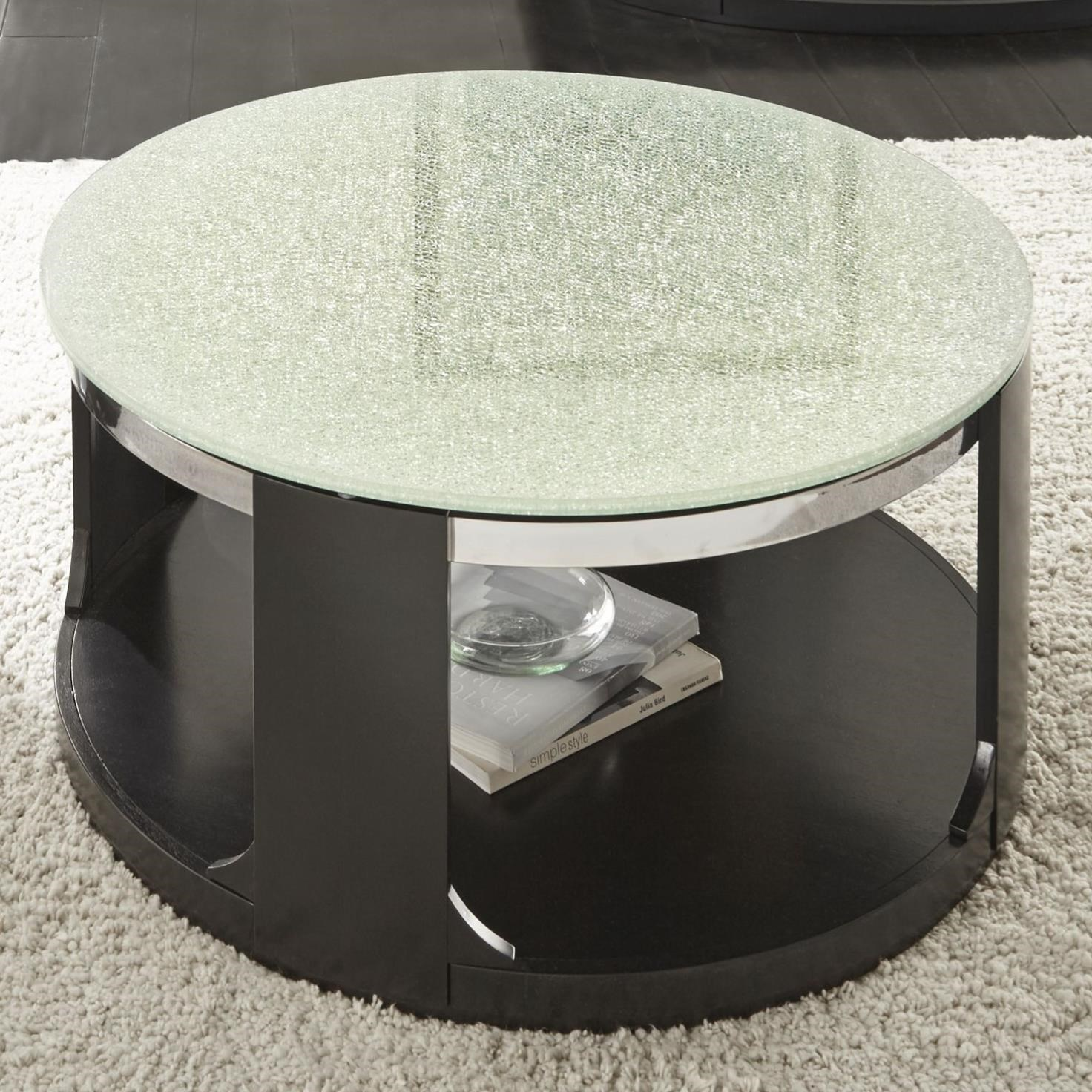 Crackled Glass Cocktail Table with Casters