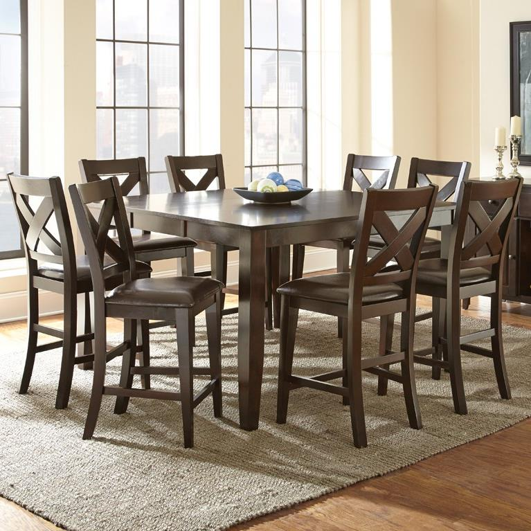 Steve Silver Crosspointe 9 Piece Counter Height Dining Set - Item Number: CP700PT+8xCC