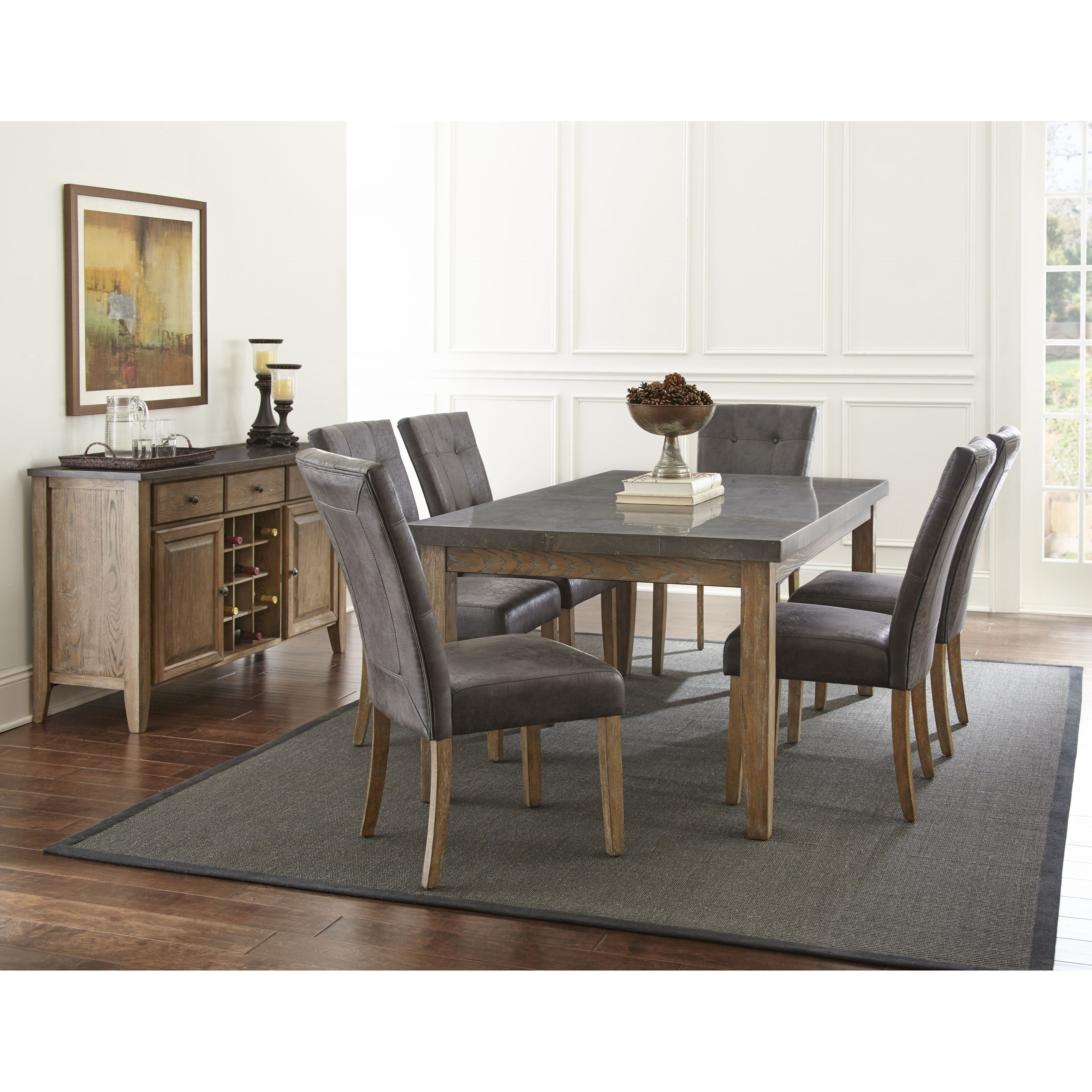 Steve Silver Harmony 7 Piece Oval Dining Room Set In: Steve Silver Debby 7 Piece Transitional Table And Chair