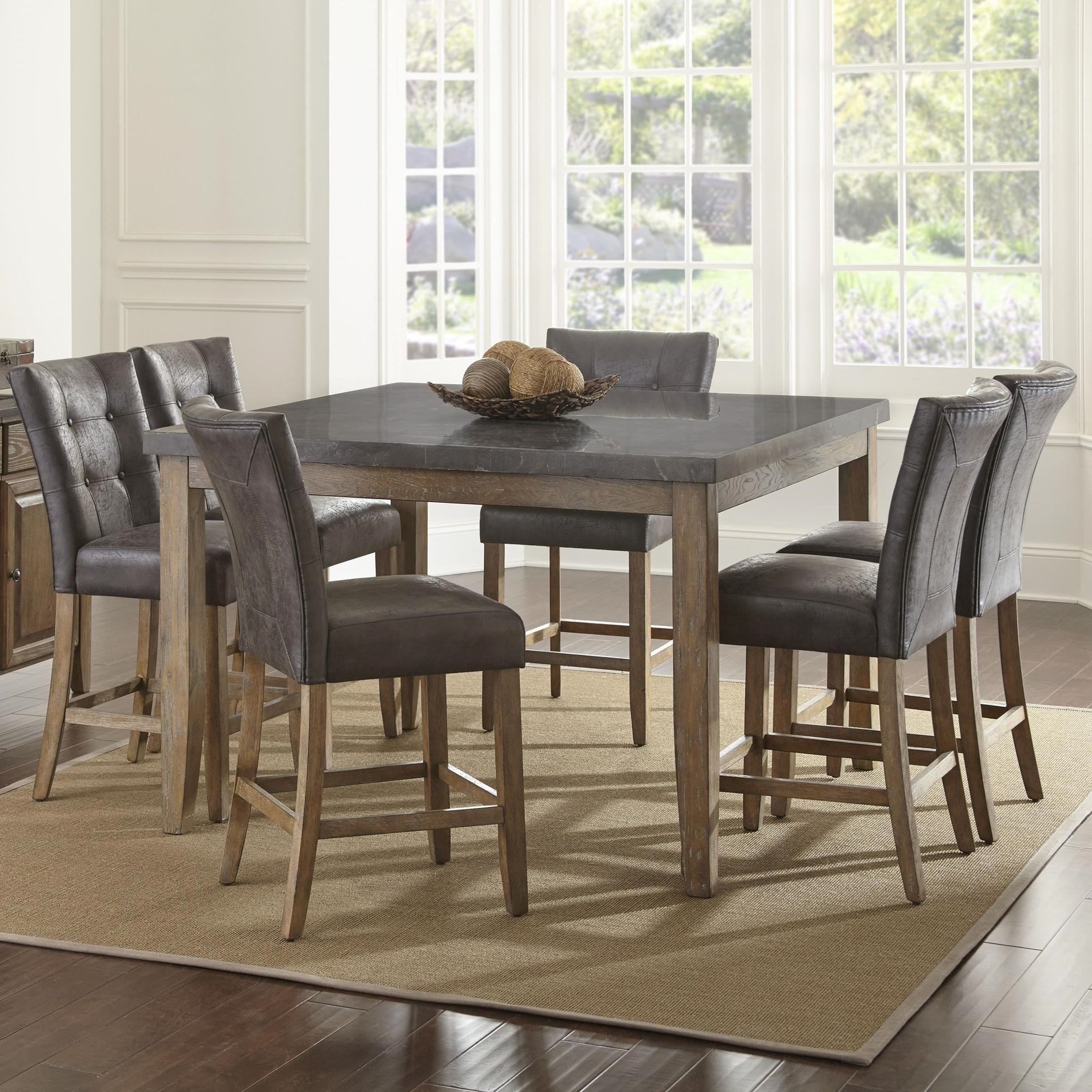 Steve silver debby 7 piece transitional square table and chair set with bluestone top great - Silver dining table and chairs ...