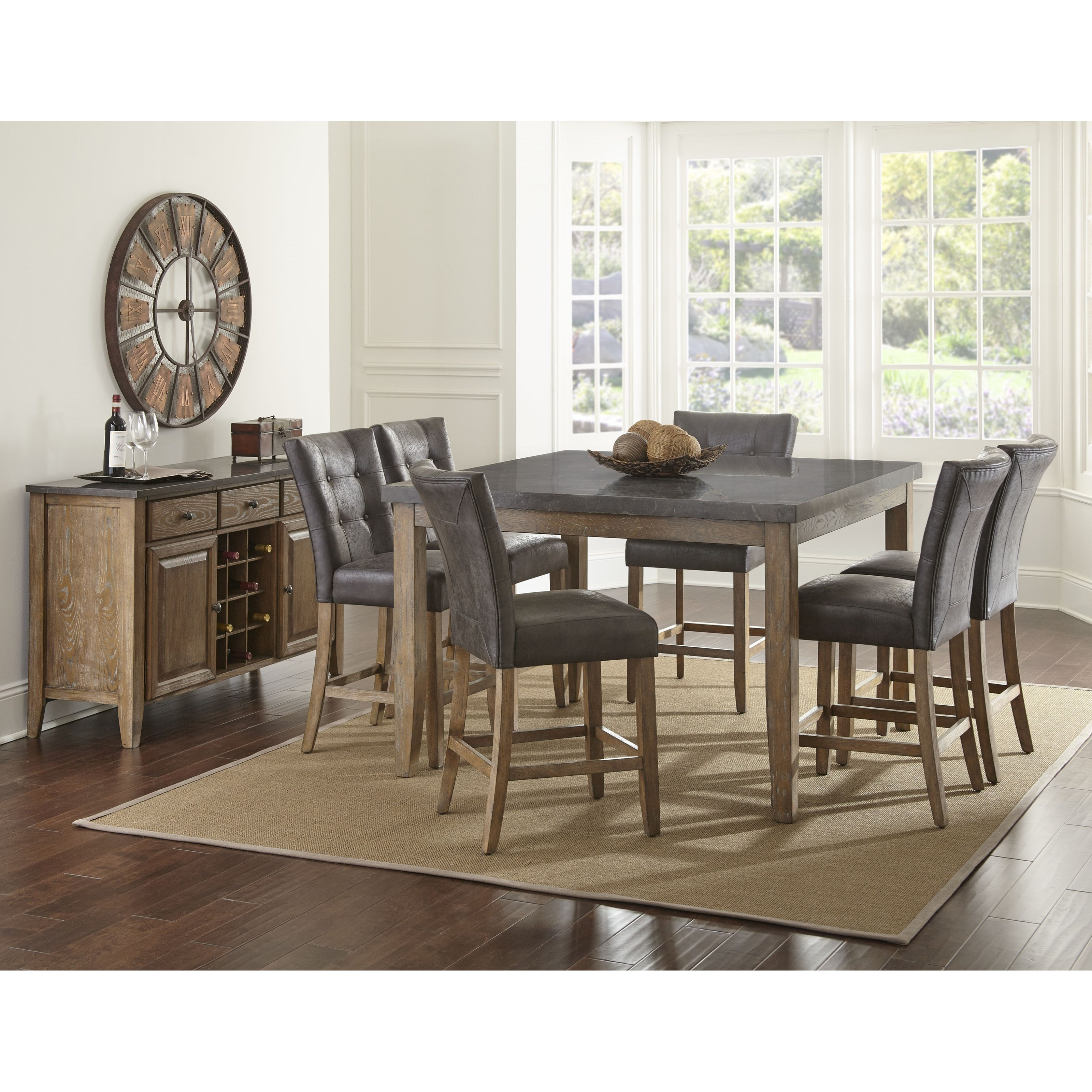 Steve Silver Harmony 7 Piece Oval Dining Room Set In: Steve Silver Debby 7 Piece Transitional Square Table And